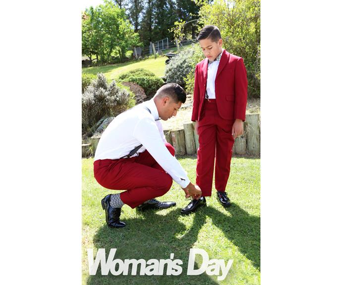 Te Kohe - known as TK - chose a red suit custom-made from Sweden, with his 10-year-old son Phoenix donning a matching ensemble.
