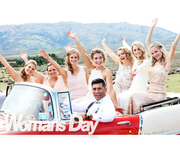 Drive on, TK! The bride and bridesmaids (from left) Milly Hammond, sister Tara Hallam, Gennah Clarke, sister Aimee  Dyke, Alesha Shaw and Sian-Pearl Going.