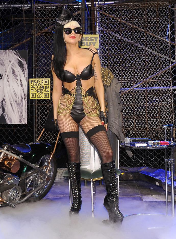 In 2011 Gaga rocked out in leather, fishnets and chains for the launch of her new album, 'Born this way'