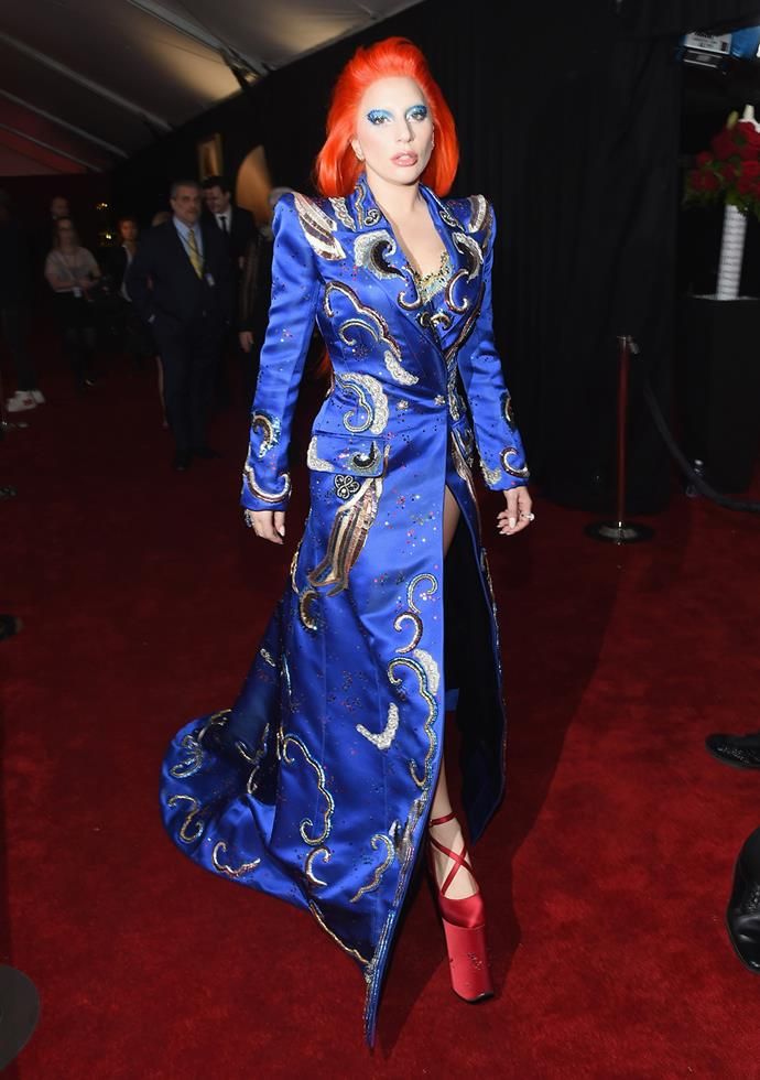 2016 saw a brief return of the old Gaga we know and love. She wore a cobalt blue gown, bold makeup and bright red wig at the Grammy Awards