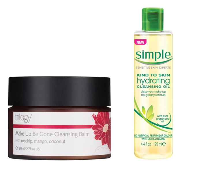 *Trilogy Make-Up Be Gone Cleansing Balm*, $39.99 *Simple Hydrating Cleansing Oil*, $11.99