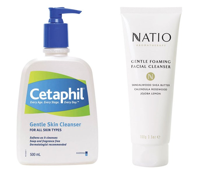 *Cetaphil Gentle Skin Cleanser*, $24.99 *Natio Gentle Foaming Facial Cleanser*, $17.50