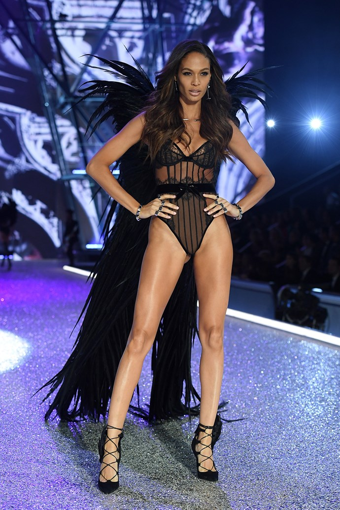 Joan Smalls shows off her fiercest pose.