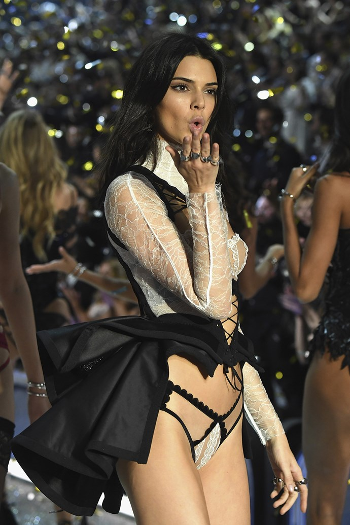 Kendall Jenner blows a kiss to the crowds.