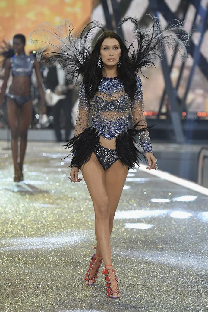 Bella Hadid walks down the runway.
