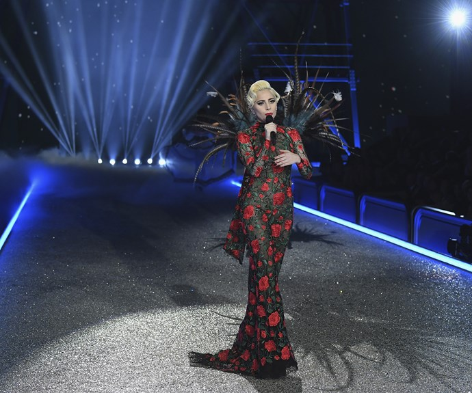 Lady Gaga had several outfit changes during her set, including this gorgeous full-length gown covered in red roses.