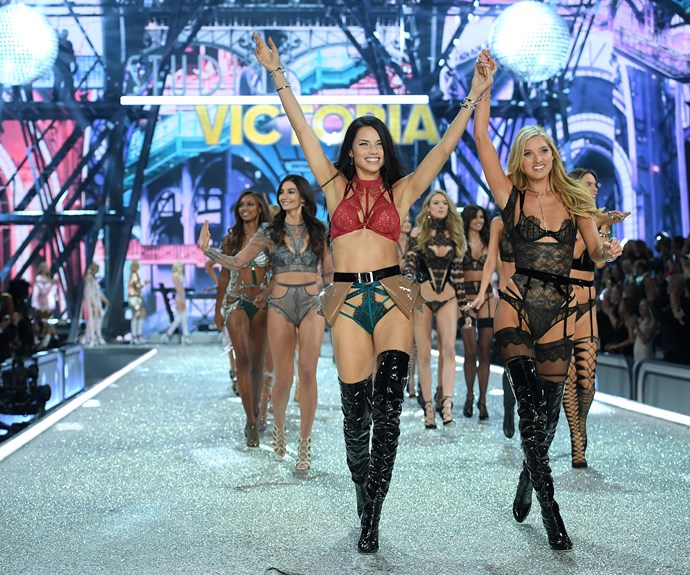 Adriana Lima leads the models down the catwalk.