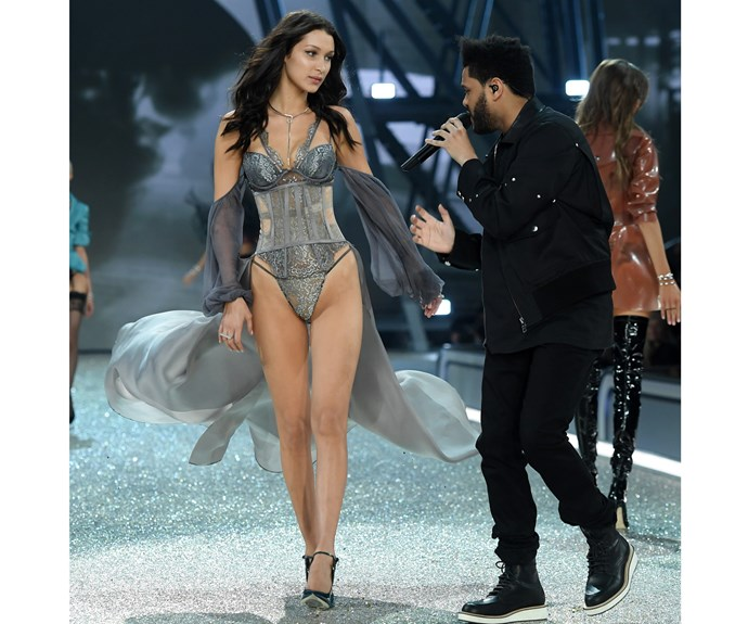 The model also reunited with her reported ex The Weeknd on the runway - and the two look very friendly indeed!