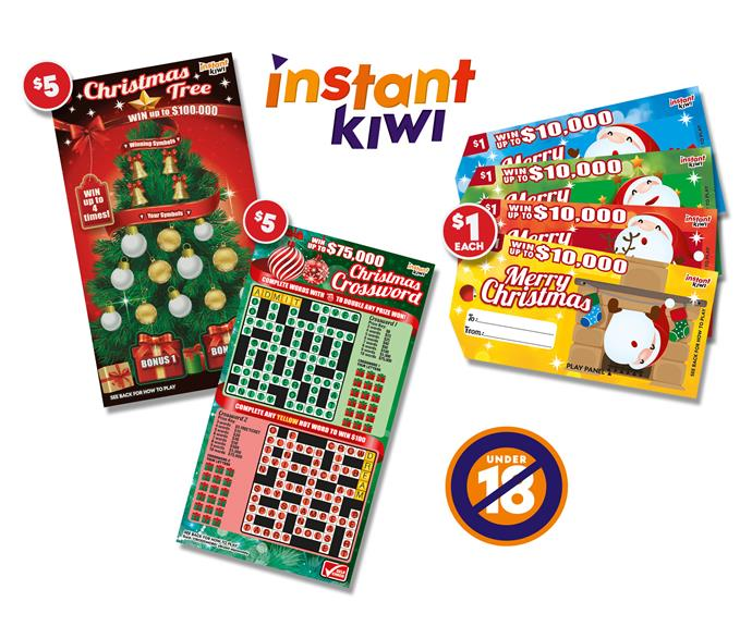 """**Christmas is all wrapped up!** No matter the situation you find yourself in, Instant Kiwi has you covered. The $5 Christmas Crossword makes for the perfect """"We're not doing presents this year"""" pressie or have Secret Santa gifts sorted with a $5 Christmas Tree scratchie. Plus, you can always be prepared for surprise guests with a handful of $1 Merry Christmas gift tag tickets. So make sure you head in-store to your local Lotto shop and get your Instant Kiwi tickets today. Subject to availability. Instant Kiwi – the perfect gift this Christmas."""