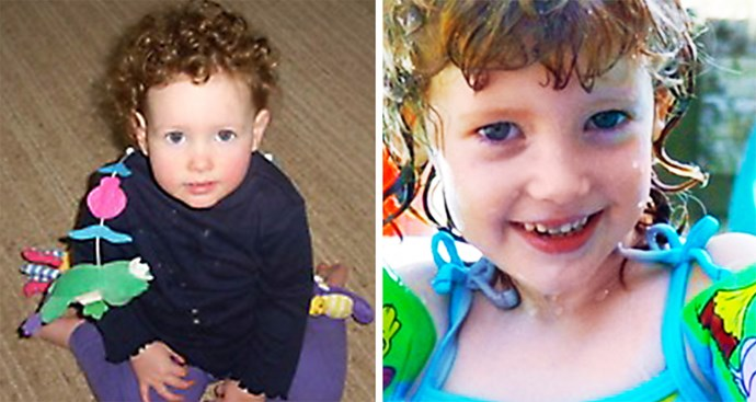 Left: Paige at about 18 months. Right: A smiling Paige aged four or five years old.