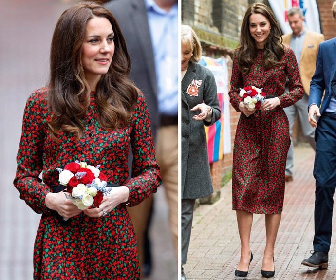 Kate opted for a suitably festive Vanessa Seward dress to attend a Christmas party for volunteers at The Mix youth service in London earlier this week.