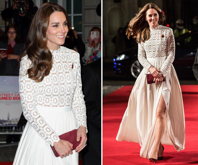 In November, Kate attended the UK premiere of *A Street Cat Named Bob* in aid of Action On Addiction, wowing in a white lace Self-Portrait gown.