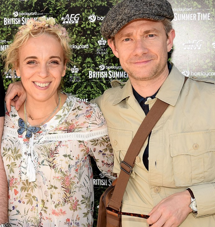 The couple's characters - Martin's Dr. Watson and Amanda's Mary Morstan are set become parents to a daughter on the BBC show.