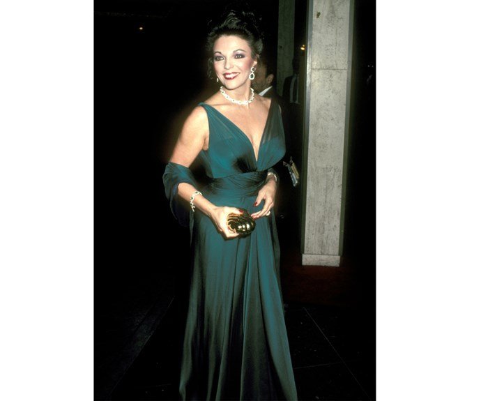 Joan Collins at the 40th Annual Golden Globe Awards in 1983. Photo: Getty