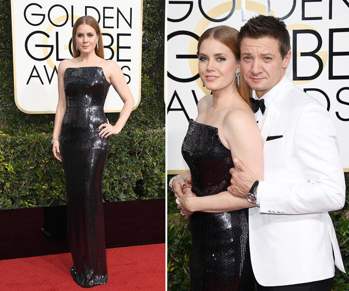 Amy Adams cosied up to her *Arrival* co-star Jeremy Renner on the red carpet