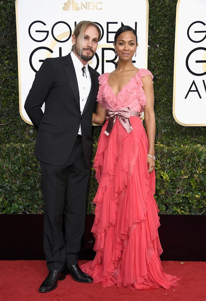 Zoe Saldana with husband Marco Perego