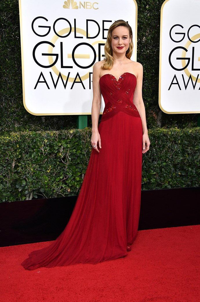 Brie Larson matched the carpet at the 2017 Globes in a stunning Rodarte dress.