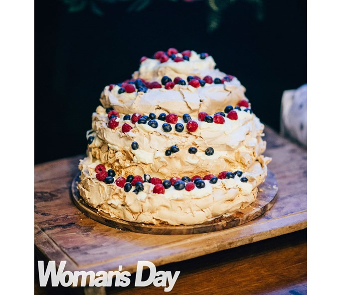 Deb was in charge of making the wedding cake – a towering pavlova.