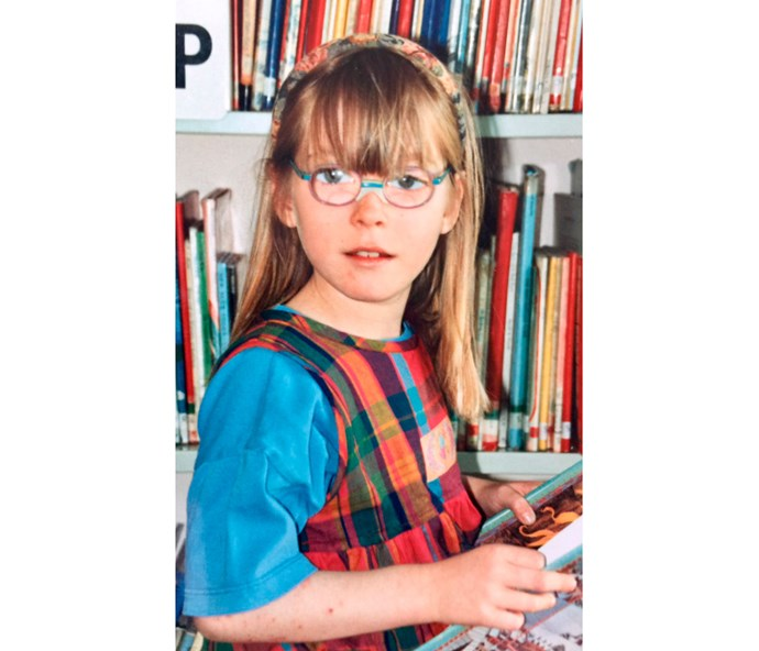 Age 7: As well as poor sight, Loren had debilitating headaches as a schoolgirl