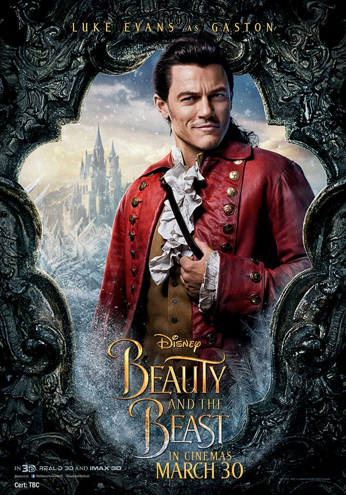 **Luke Evans as Gaston** Gaston is the arrogant and shallow villager intent on marrying Belle. A former War hero, he holds court in the village tavern and has every eligible woman in town wrapped around his finger. Smitten with Belle, who is strong-willed and impervious to his charms, Gaston becomes consumed by rejection and jealousy and leads a mob of villagers to the Beast's castle to rescue Belle and kill the Beast.