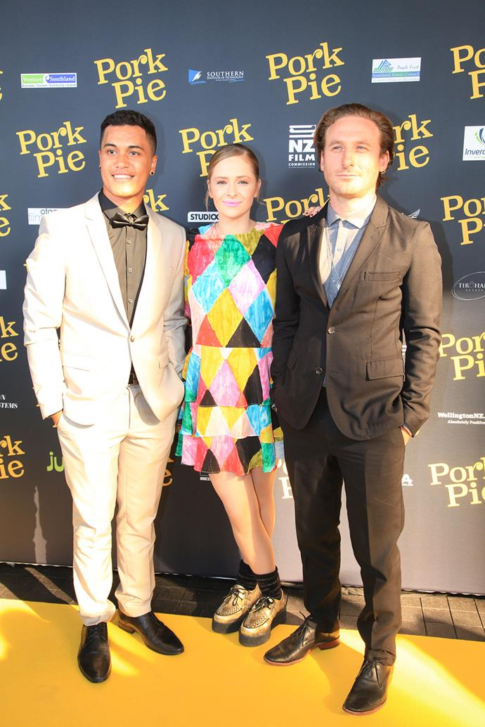 James with his *Pork Pie* co-stars Dean O'Gorman and Ashleigh Cummings at the Auckland premiere last month.