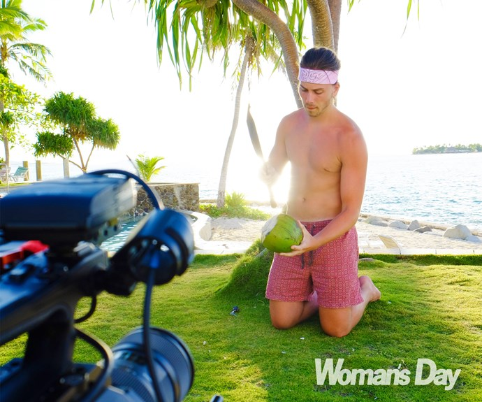 Behind the scenes: Max films his music video in Fiji.