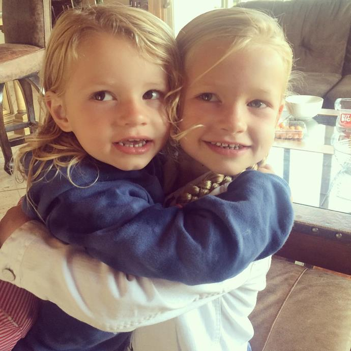 **Maxwell Drew Johnson**  Jessica Simpson's daughter Maxwell (who turns five this year) shares a hug with her younger brother Ace.