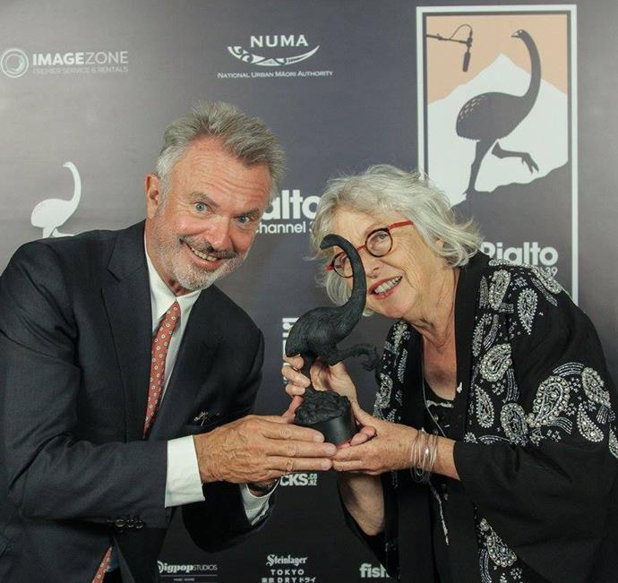 Sam Neill presented a special award to Gaylene Preston for her outstanding services to film.