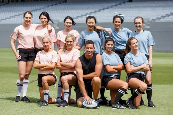 On last night's group date, the Bachelorettes took on each other in a game of rugby. Photo: Supplied