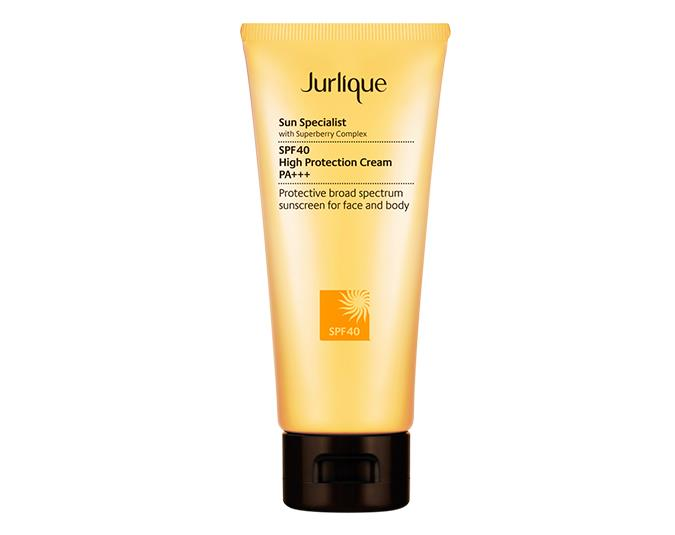 For potent antioxidants  Jurlique Sun Specialist High Protection Cream SPF 40 $58 includes a super-berry complex as well as marine and plant  extracts to condition and protect the skin from damage.