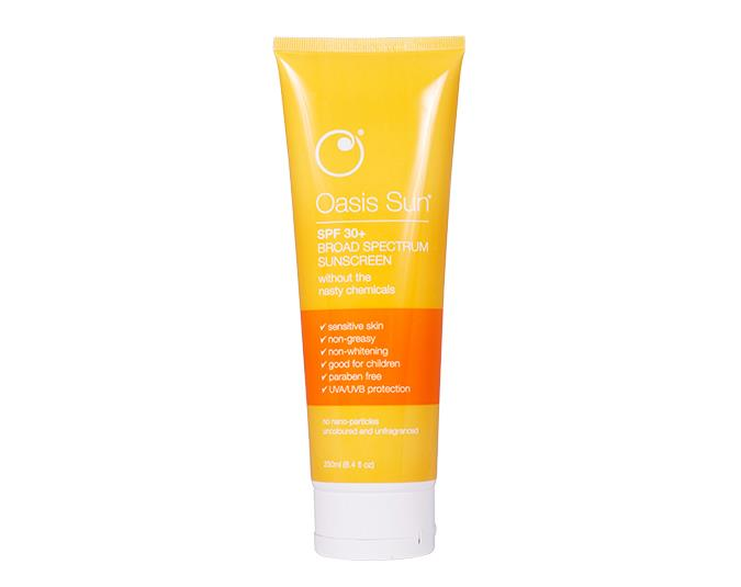 For natural lovers  Oasis Sun SPF 30 $39.90 is a zinc oxide-based sunblock with 94% natural ingredients, including nourishing jojoba oil and shea butter.