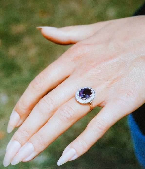 Michael ended up selling the gorgeous amethyst and diamond ring he proposed to Christine with. He's made up for it with plenty of other gifts of jewellery over the years!