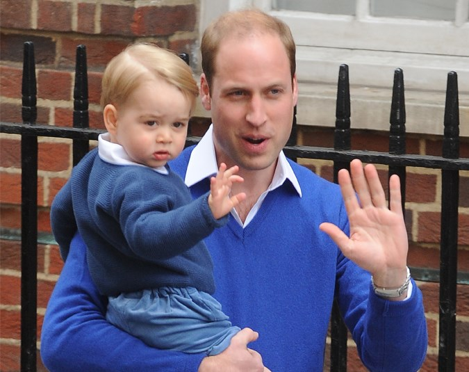 Prince George gives the cameras a wave as he goes to meet his baby sister.