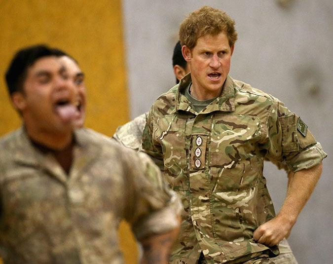 Prince Harry learns the Haka at Linton Military Camp in Palmerston North.