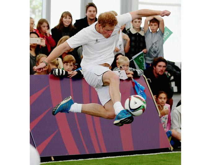 Prince Harry scores the winning goal on the final buzzer as he captains the New Zealand team playing the All Stars in a five a side game of football at the Cloud.