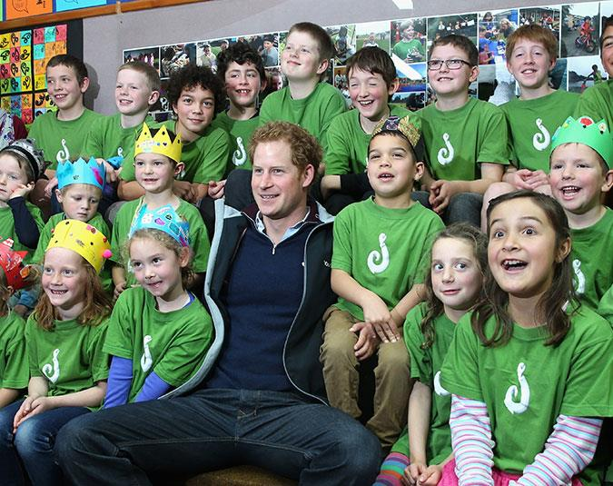 Prince Harry answers pupils' questions at Halfmoon Bay School on Stewart Island.