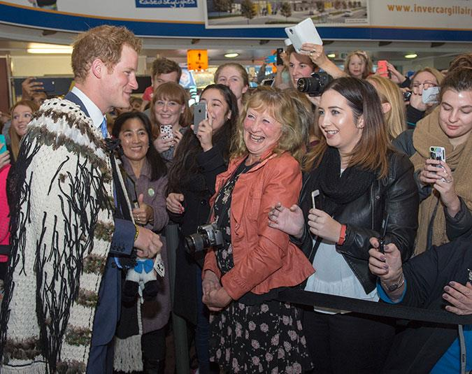 Prince Harry meets some adoring fans in Invercargill.