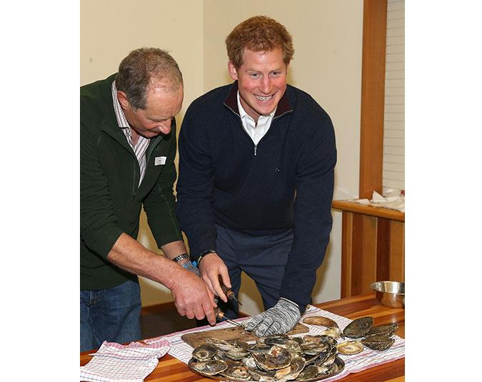 Prince Harry attempts to shuck Bluff oysters on Stewart Island.