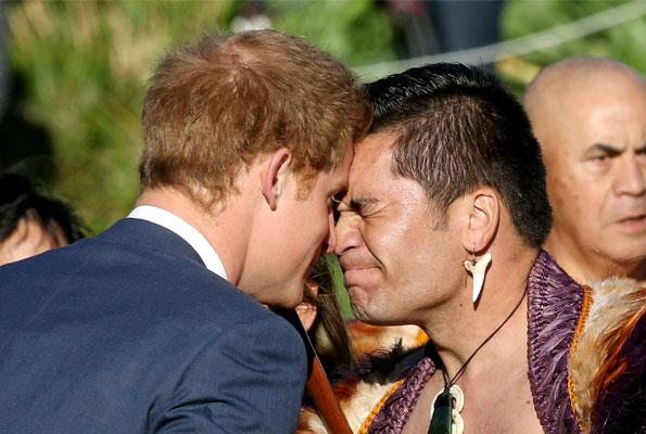 Harry's hongi welcome at Government House in 2015.