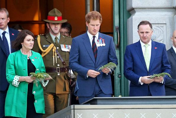 Bronagh Key, Prince Harry and Prime Minister John Key laid ferns at the Tomb of the Unknown Warrior at the National War Memorial.