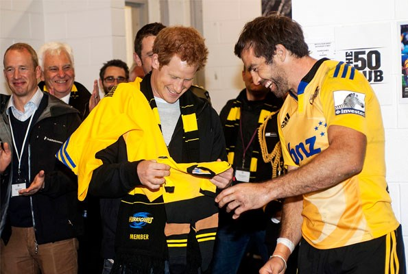 Uncle Harry received a rugby shirt and a onesie for Princess Charlotte from Hurricanes skipper Conrad Smith.