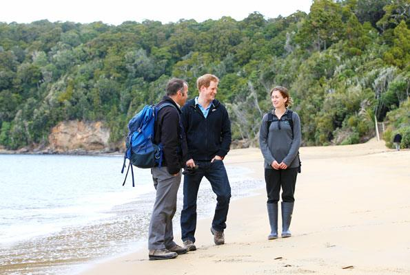 Meeting DOC rangers Brent Beaven and Kate Richardson on Ulva Island.
