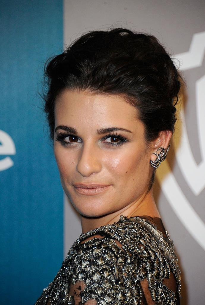 Lea Michele shows us how it's done - hair swept back with minimal lipstick or blush, her smoky eyeliner shines through