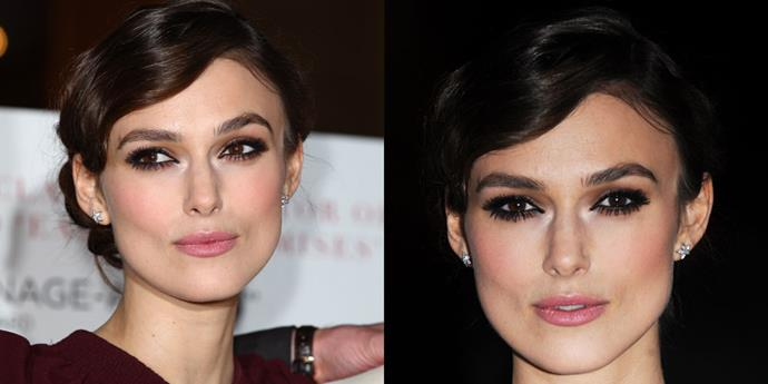 Keira Knightley goes all out with a strong sculpted brow and full eyeliner on both her upper and lower lids. Very femme fatale