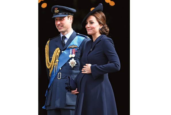 Prince William and the Duchess of Cambridge during the late stages of her pregnancy with Charlotte.
