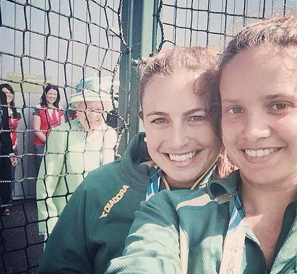 """The Queen """"photobombed"""" Australian hockey star Jayde Taylor's selfie at the Glasgow Commonwealth Games."""