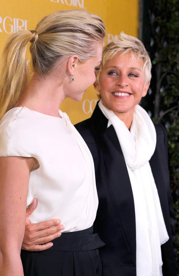Portia de Rossi and Ellen DeGeneres attend the Covergirl 50th Anniversary Celebration