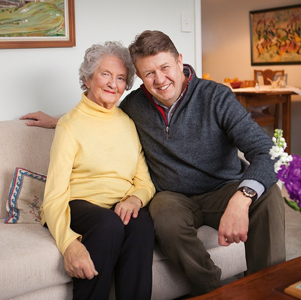Barbara at home with eldest son David.
