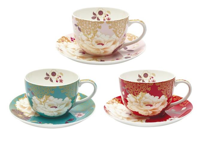 Tea time Savour your favourite hot drink in these pretty Maxwell & Williams Kimono Cup & Saucers,$24.99 each, from Briscoes. Available in stores or online now.