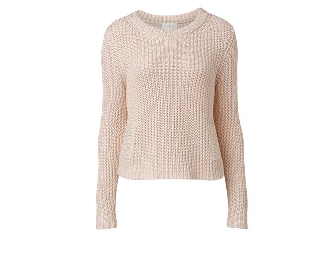 Pretty in pink  Stay stylish and cosy in this pale pink Witchery jumper, $149.90.Made from 100% cotton, the knit features a crew neck and subtle shimmering foil finish. Purchase in store or online here.